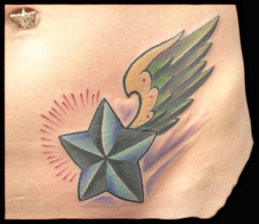 heart and stars tattoos for girls. colorful star tattoos. Heart