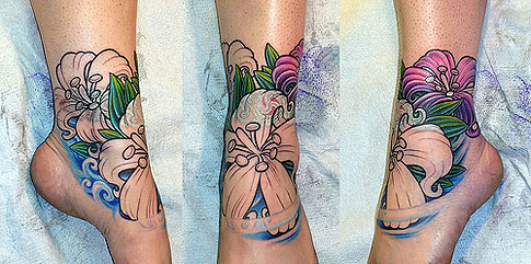 Flower Foot Ankle Tattoos Star Tattoos Design