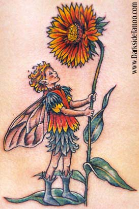fairy with flower tattoos