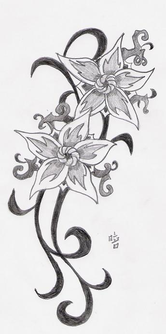 Black and white flower and star tattoos deviantART Shop: Newly Flower Tribal