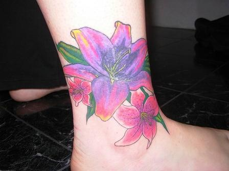 flower ankle tattoos