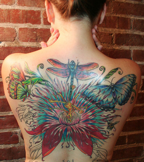 ave fenix tattoo. floral tattoos by Johnny