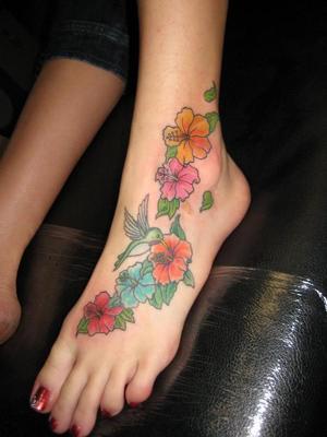 flower footankle tattoos