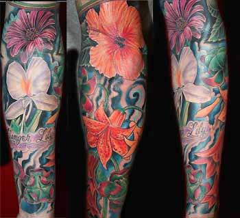 flower sleeve tattoos