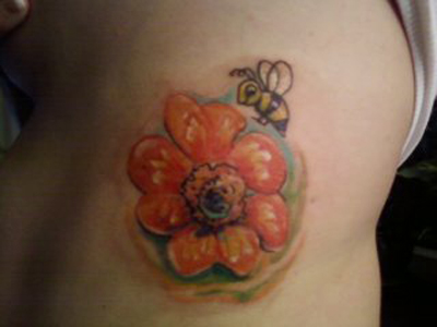 flower tattoos with bees