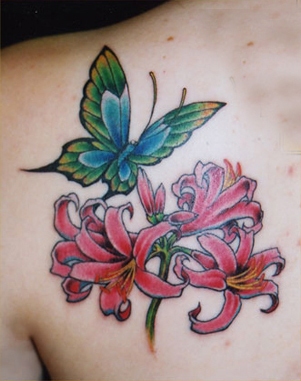 flower tattoos with butterflies
