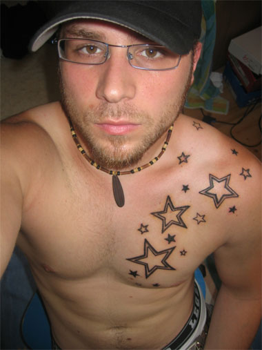 star chest tattoos