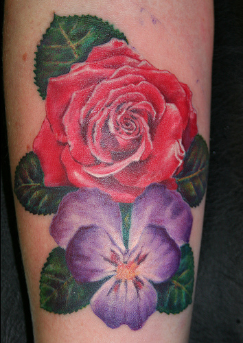 violet flower tattoos